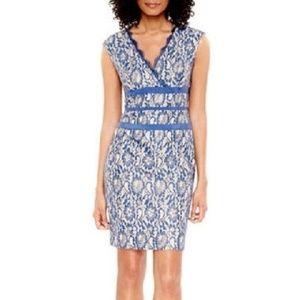 SIMPLY LILIANA Blue Metallic Lace Sheath Dress 16